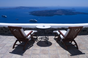 View from Luxury Villa in Santorini Greece