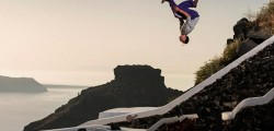 Red Bull leaping on Santorini