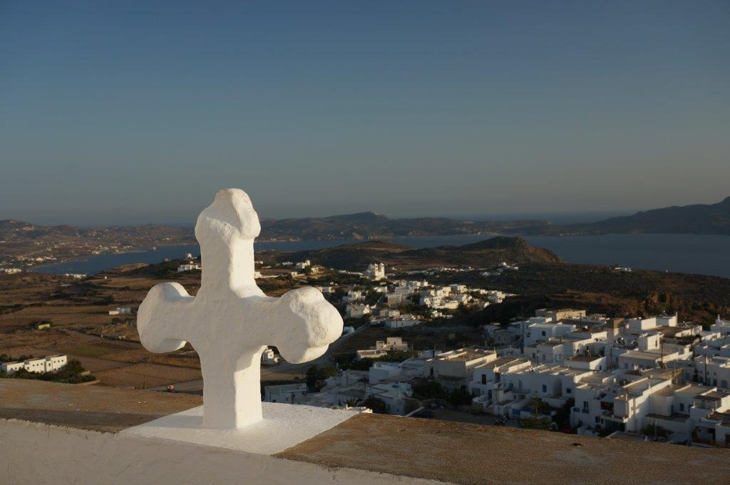 Cross Above Milos Island in Greece