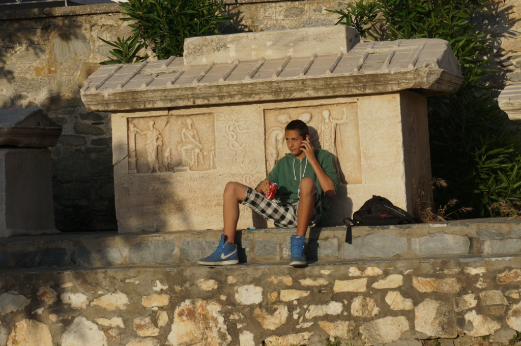 Chilling on the tombstone in Parikia, Paros