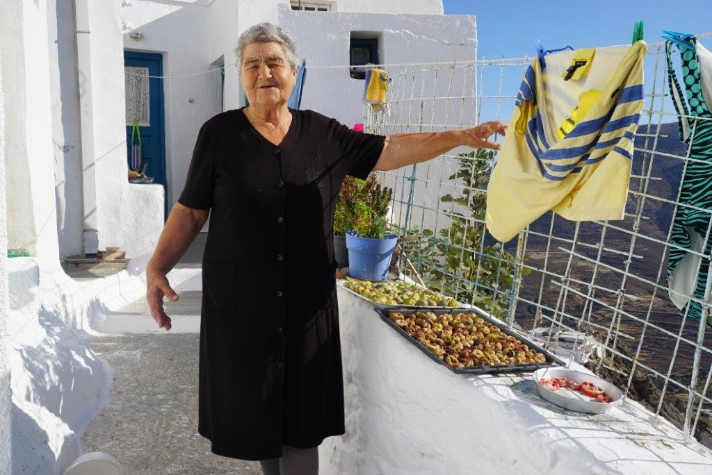 Mrs Dimitra and her dried figs and tomatoes