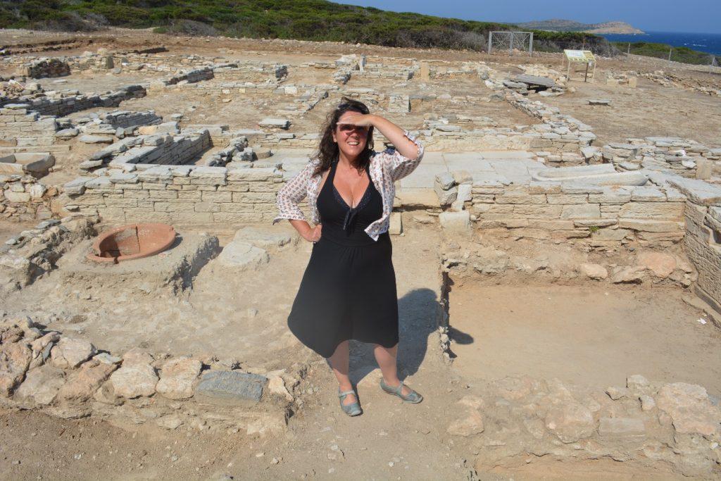 Bettany Hughes at Antiparos, Greece